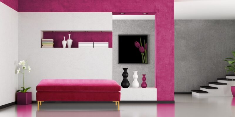 Two Seater Settee In Fuschia Colour