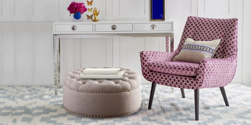 Stylish Tufted Round Ottoman In Beige Colour