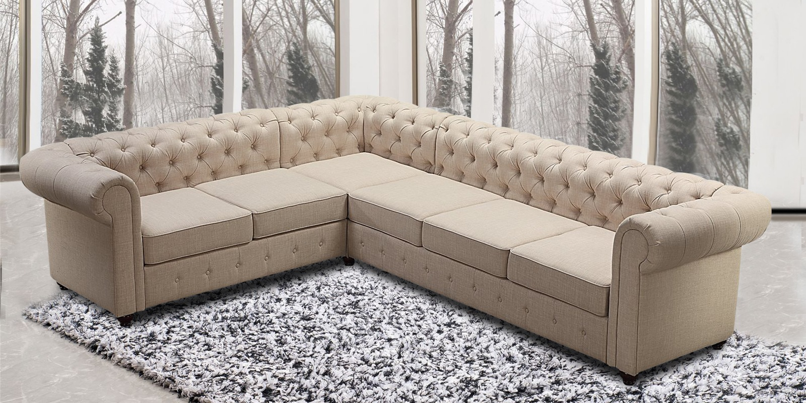 Royal Corner Sectional Sofa With Tufted