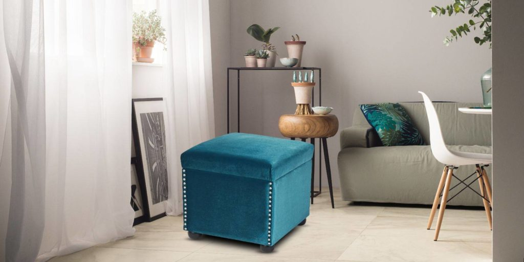 Jade Cubic Ottoman In Blue Colour