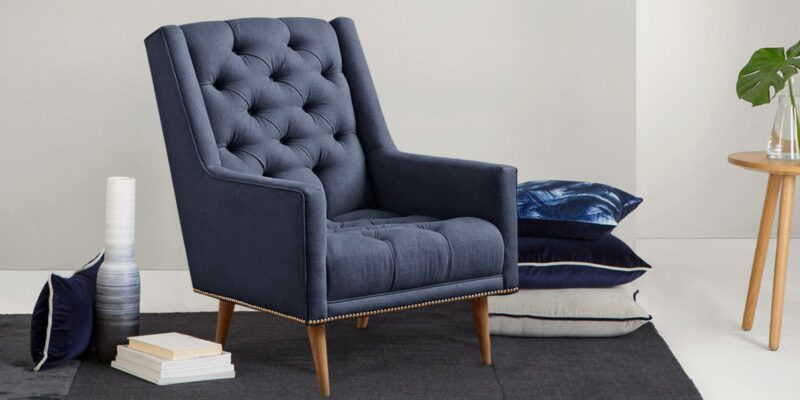 Alicia Modern Tufted Chair In Blue Colour