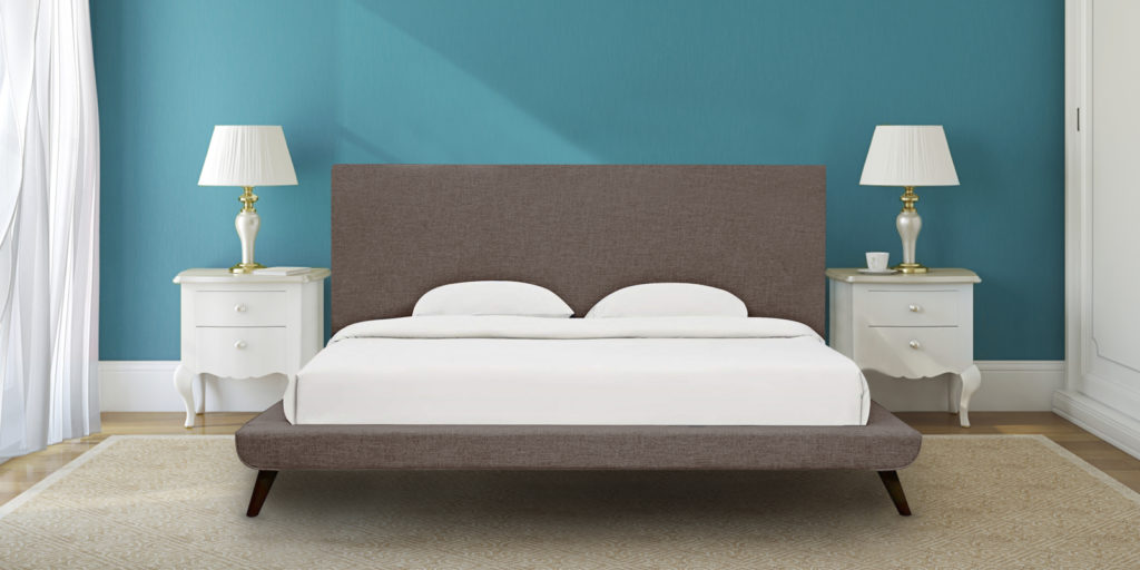 Aurora Upholstered Queen Size Bed With Tall Headboard In Grey Colour