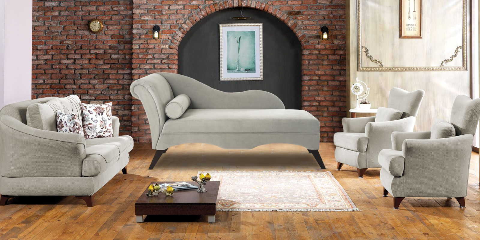 Modern Chaise Lounge Couch Grey Colour