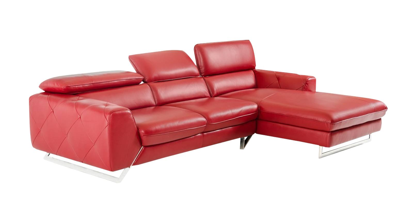 ultra modern red passion love seat   Ultra Modern LHS Two Seater Sofa With Lounger In Red ...