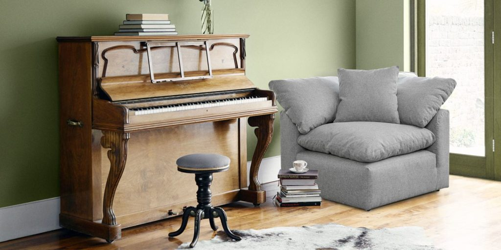 Plush One Seater Corner Sofa In Grey Colour