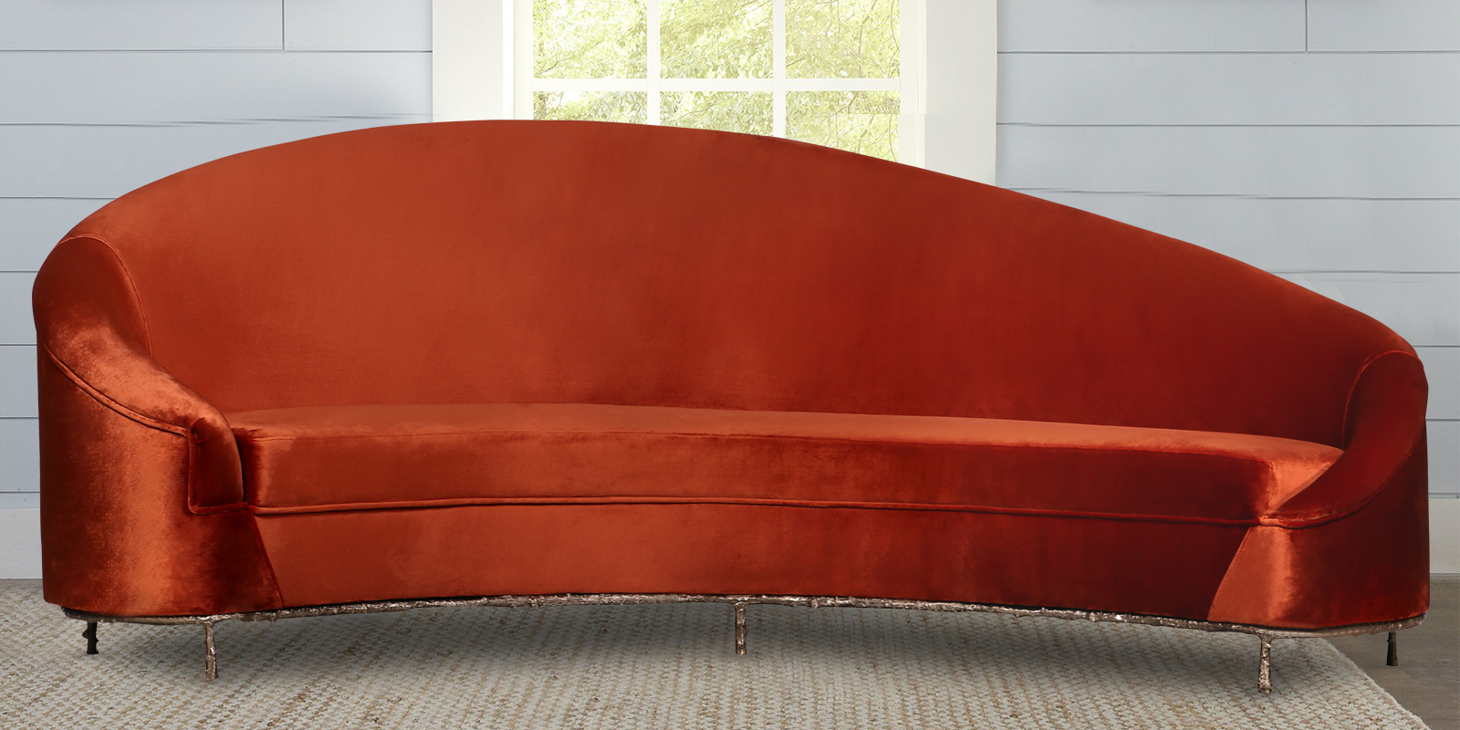 Charismatic Three Seater Sofa In Orange Velvet