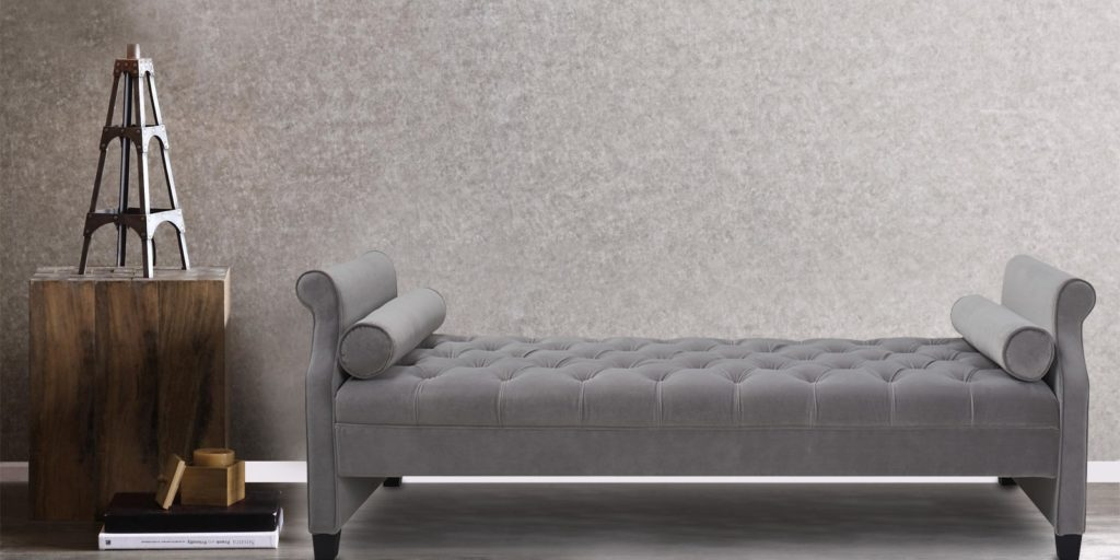 Boston Bench In Soft Grey Colour With Tufting & Bolsters