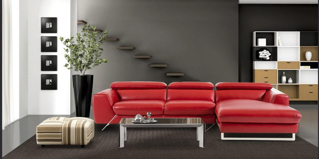 Ultra Modern LHS Two Seater Sofa With Lounger In Red Leatherette