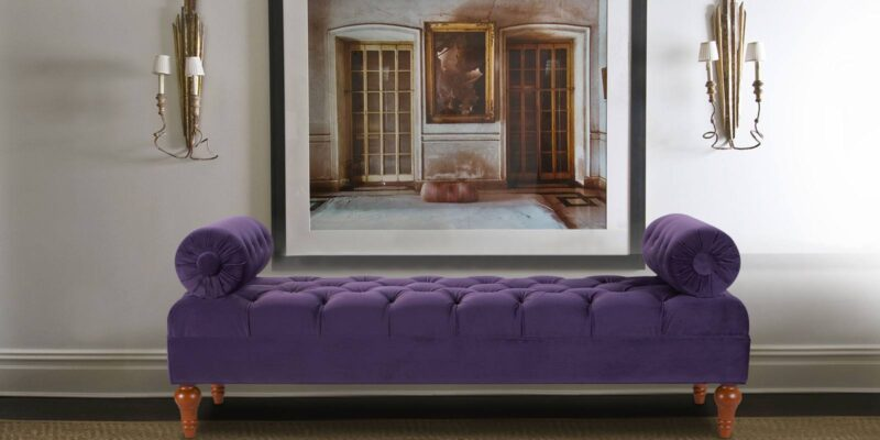 Exotic Tufted Settee in Purple Colour