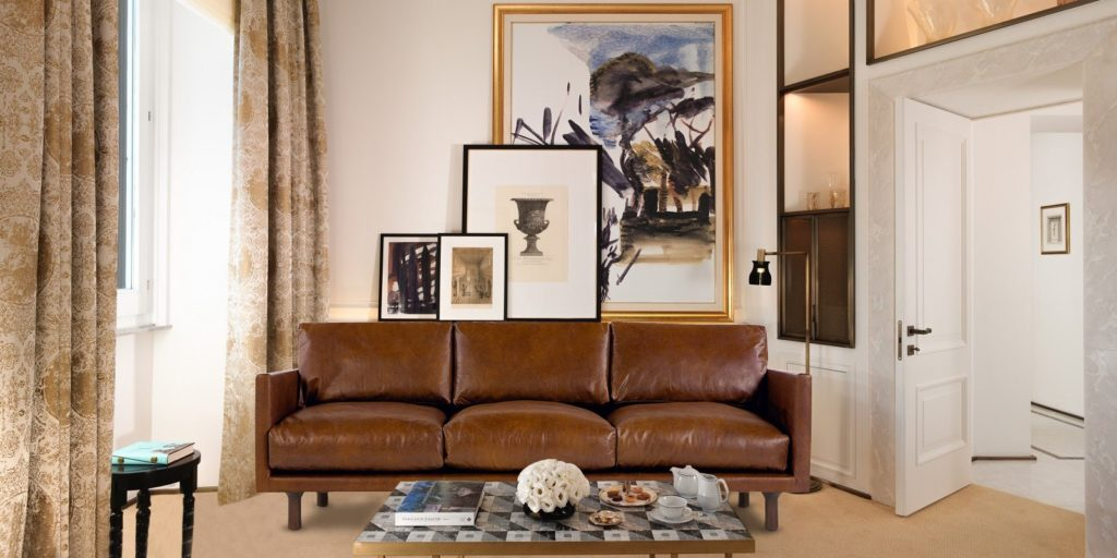 Amigo Three Seater Upholstered Sofa In Tan Brown Leatherette