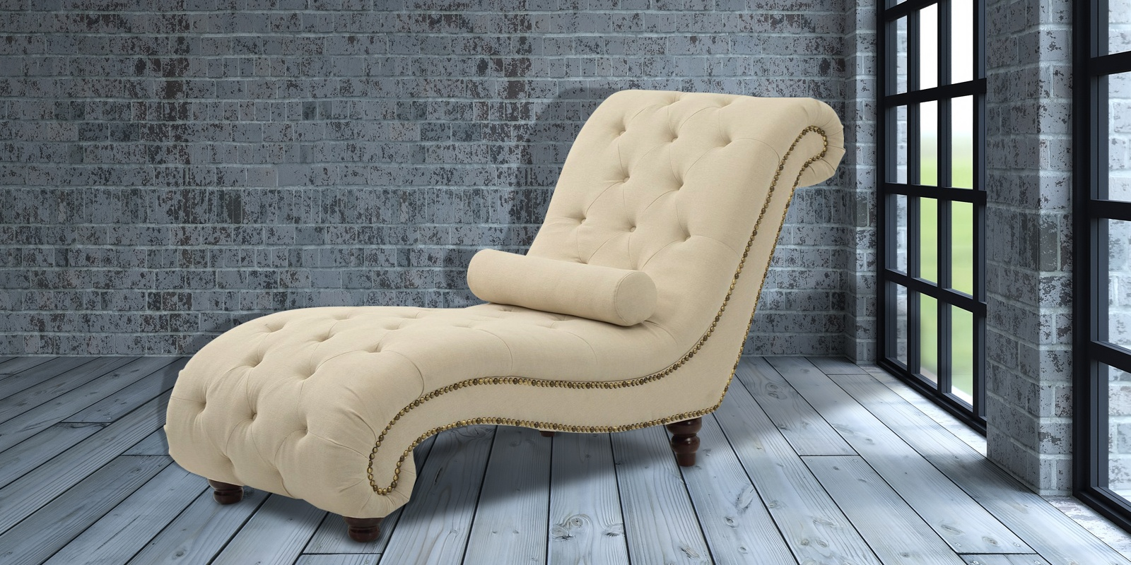 Comfortable Tufted Lounge Chaise In Beige Colour | Dreamzz ...