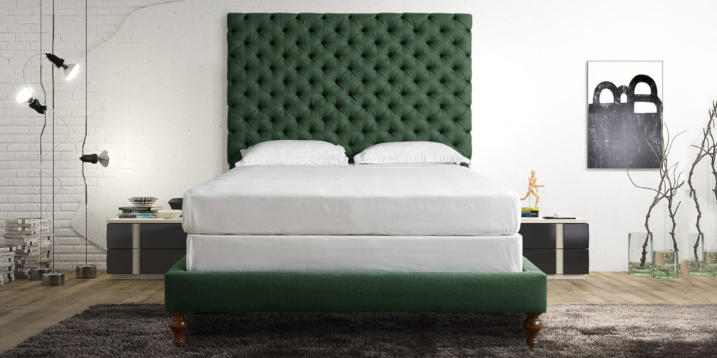 Progressive & Classic Green Colour Upholstered Tufted Bed
