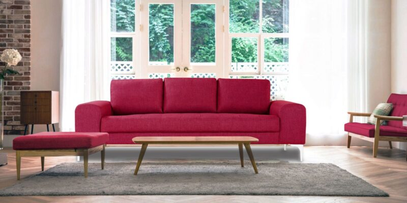 Stunning Three Seater Sofa In Pink Colour.