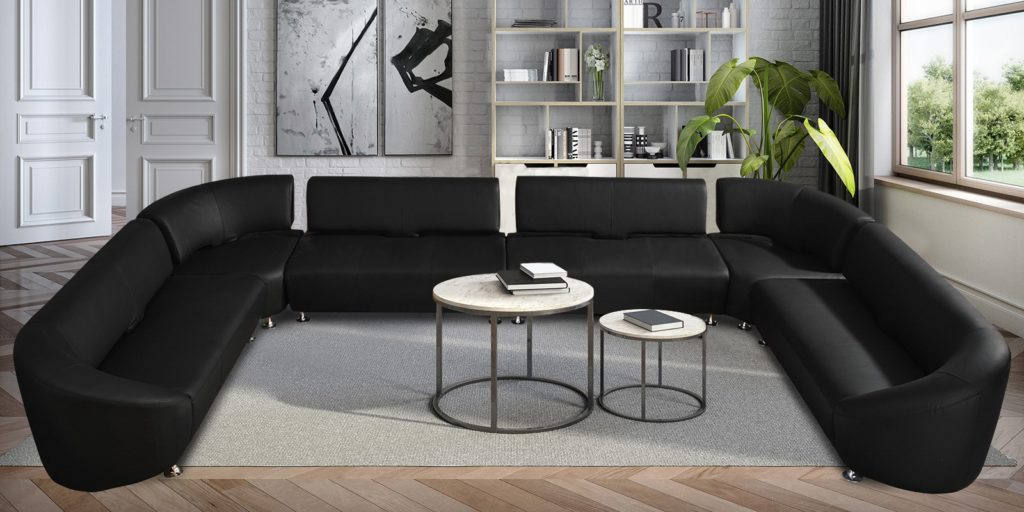 Gwendolyn Luxurious C Shape Sofa in Black Lethearette