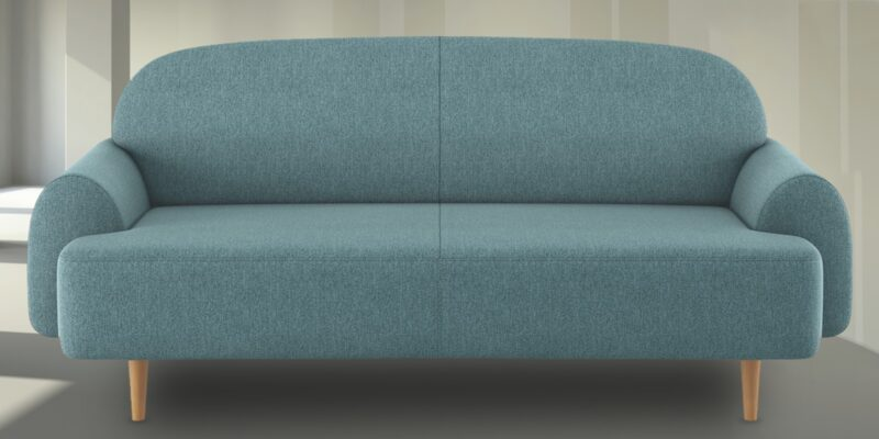 Deep Padded Three Seater Sofa In Icy Blue Colour