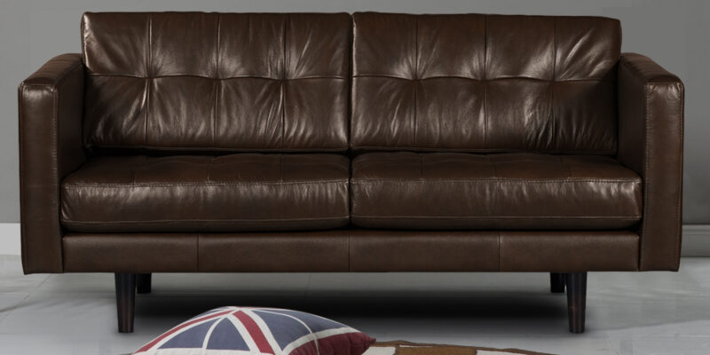 Amaranete Two Seater Sofa In Brown Leatherette