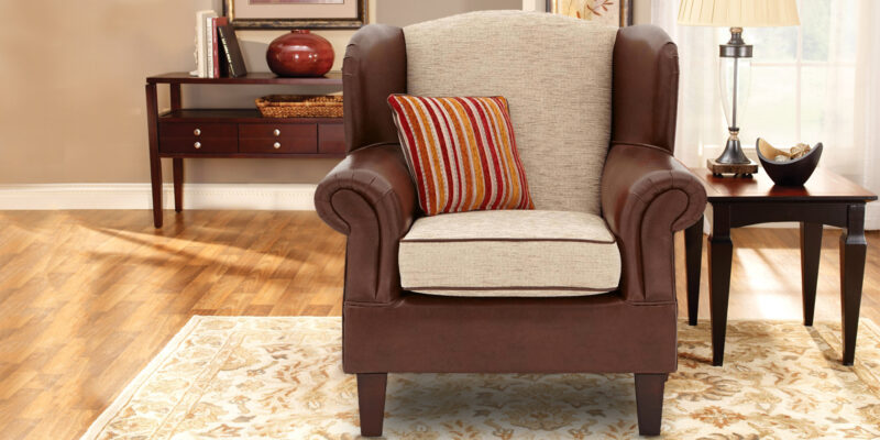 Royal Classy Wingback Chair In Brown Colour