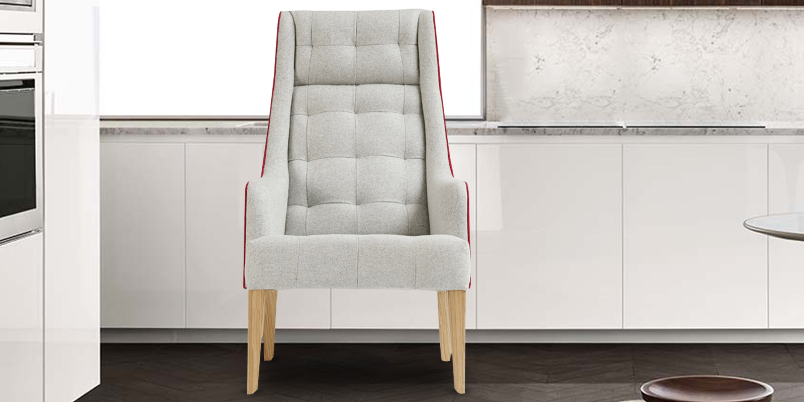 Solaris Tufted Wingback Chair In Grey Colour