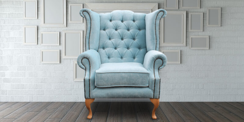 Royal Luxurious High Back Arm Chair In Blue