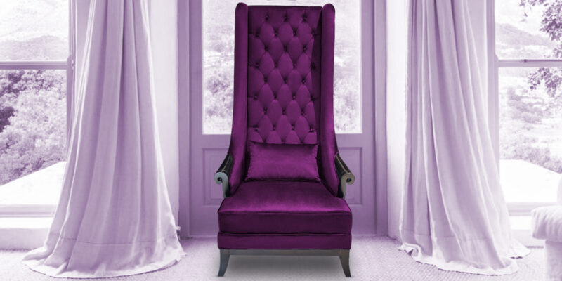 Alexis Premium High Back Arm Chair In Purple.