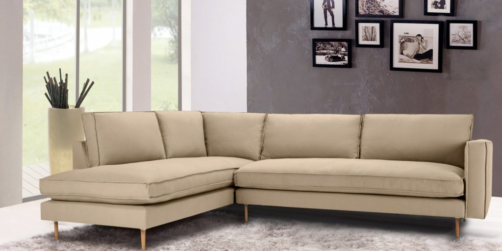 Modular RHS Three Seater Sofa With Lounger In Beige Colour