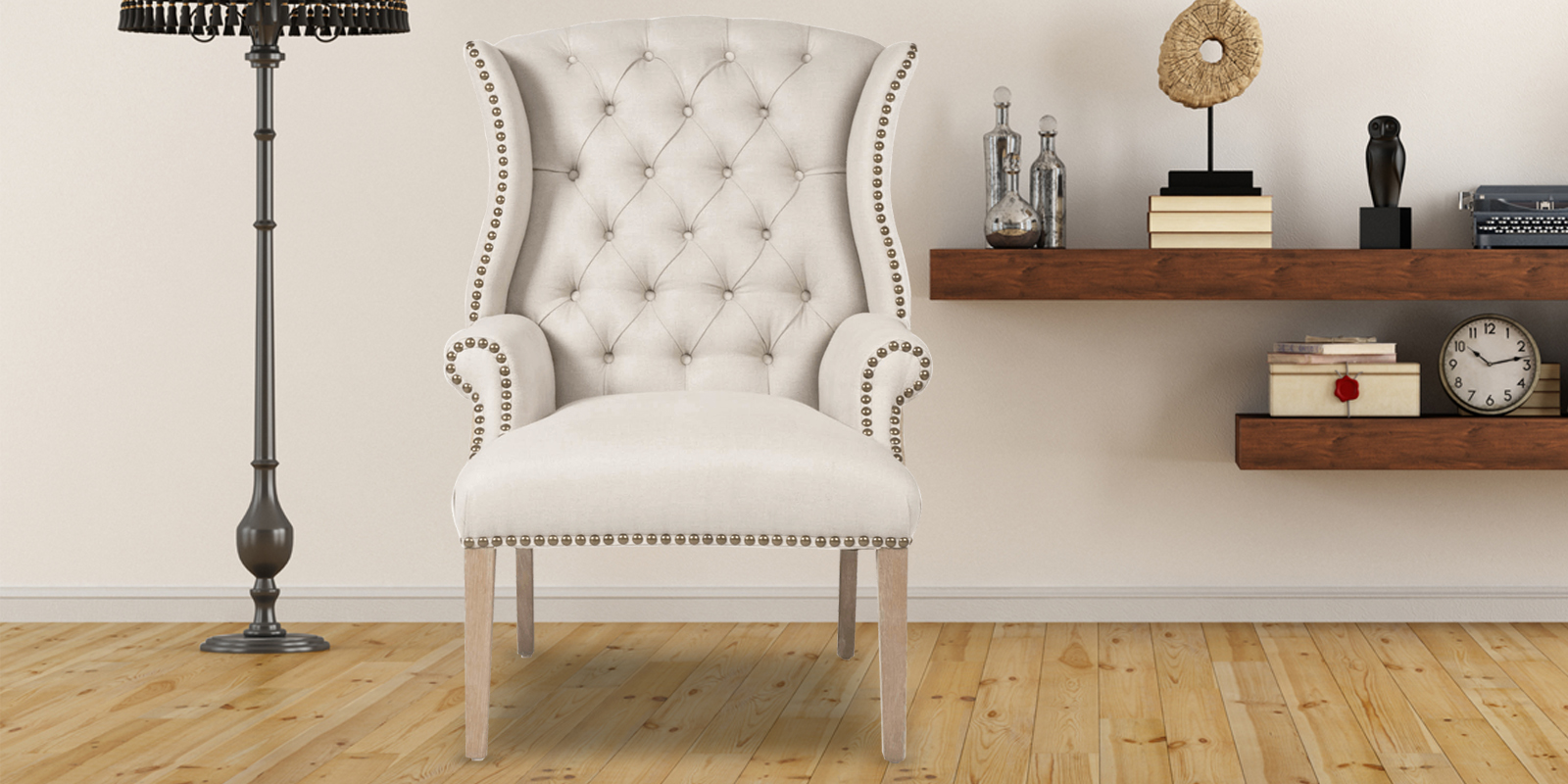 Maverick Classy High Back Arm Chair In Off White Colour
