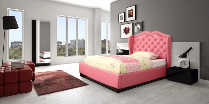Cottage Crystal Studded Single Bed In Pink