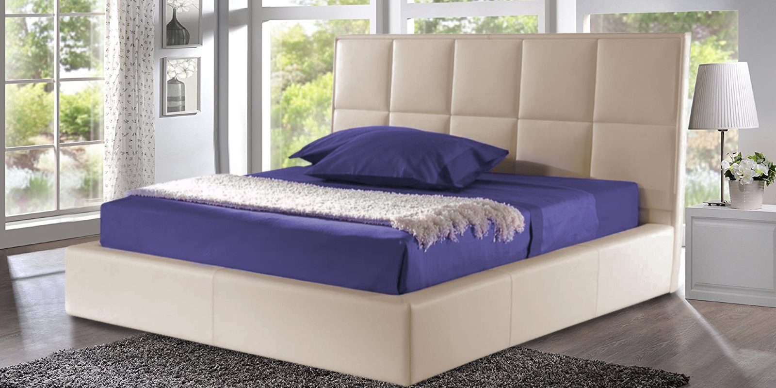 Beige Leatherette Upholstered Bed In Queen Size With Storage