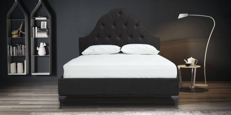 Charlotte Head Board Tufted Bed with teak legs