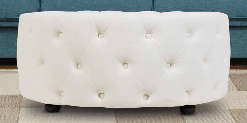 Round Tufted Design Ottoman In Off White Leatherette