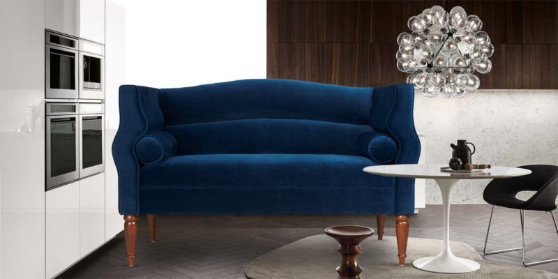 Gretel Two Seater Sofa In Blue Color