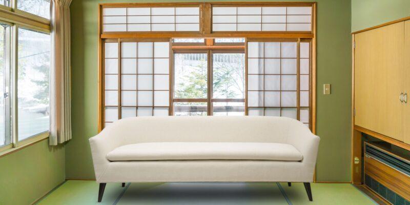 Classiest Mid-Century Three Seater Sofa In White Colour