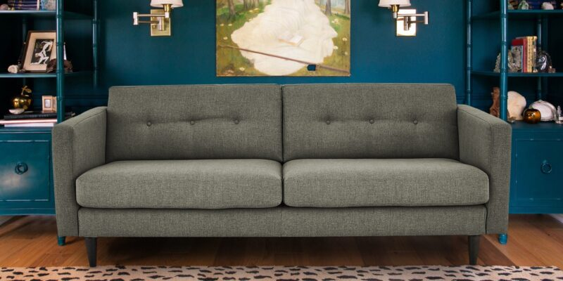 Sophisticated Modern Two Seater Sofa In Greyish Green Colour