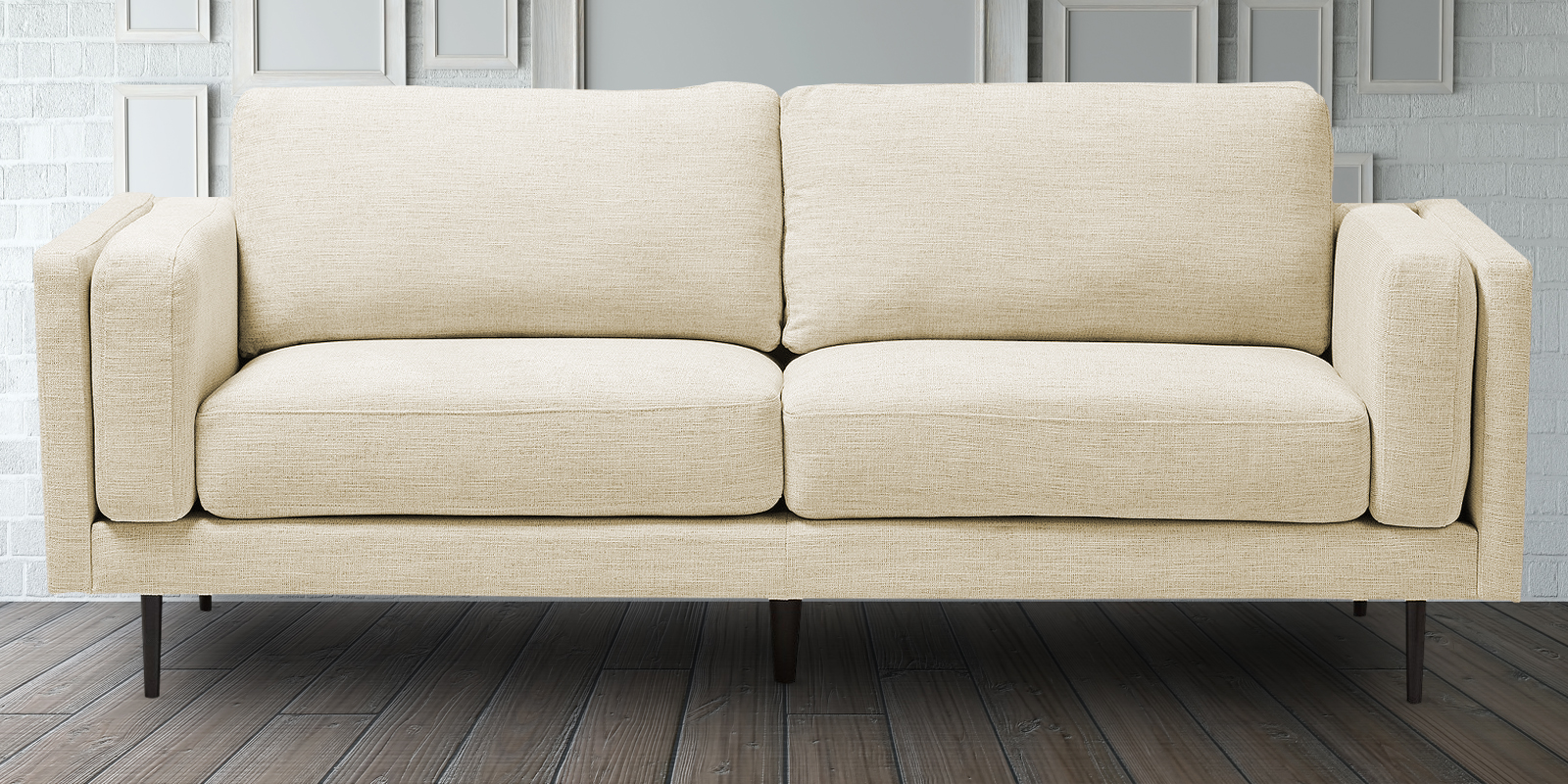 Complementing Spacious Three Seater Sofa In Light Beige