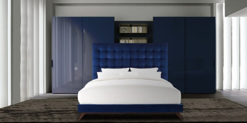 Glorious Queen Size Bed In Blue Colour
