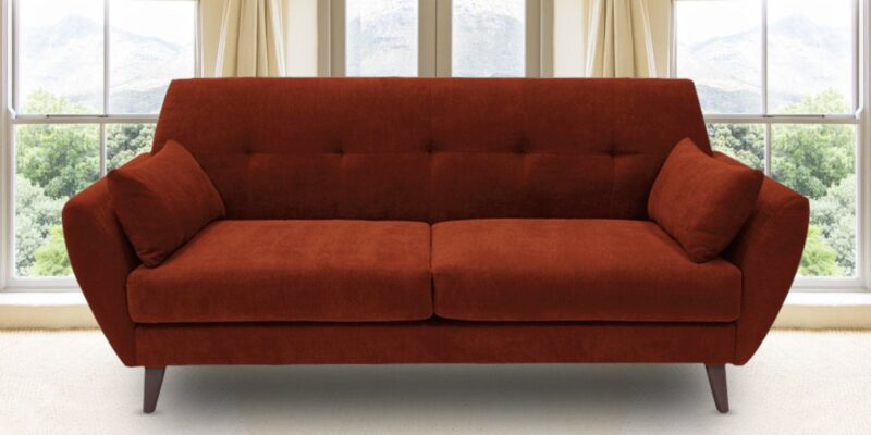Button Tufted Two Seater Sofa In Burnt Orange Colour