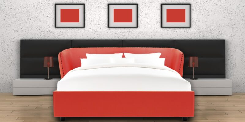 Placeholder Chiselled Queen Size Bed In Red Leatherette Bed