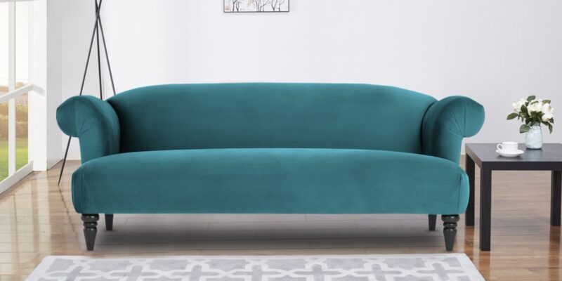 Chevron Three Seater Sofa In Blue Velvet