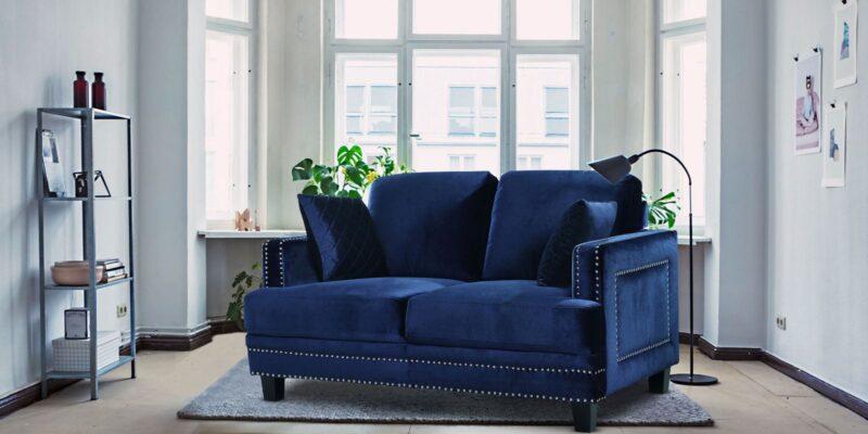 Dallas Two Seater Sofa In Velvet Blue Colour