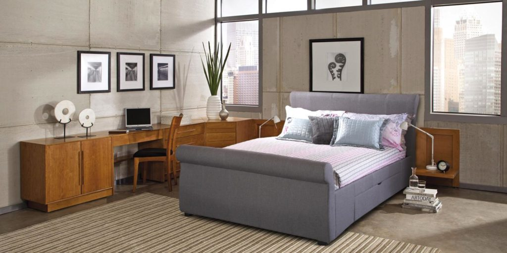 Miranda Grey Colour Upholstered Bed With Storage