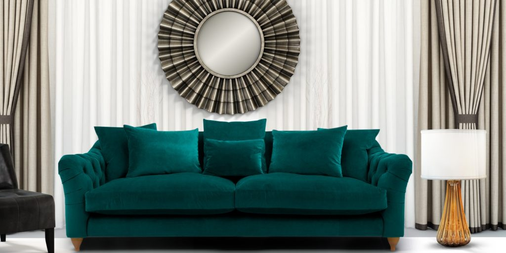 Grendale Stylish Three Seater Sofa In Greenish Blue Colour
