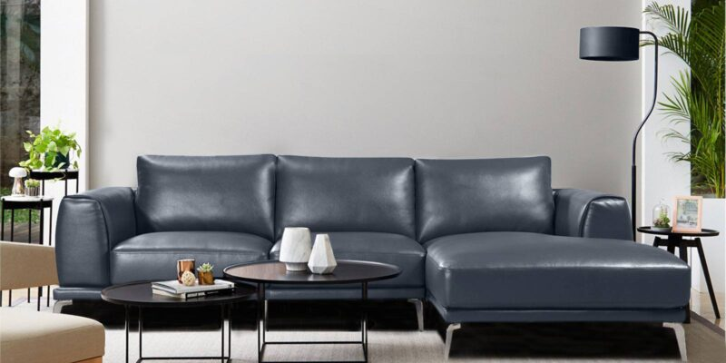 Specy Three Seater Leatherette Sofa With Lounger In Blue Colour