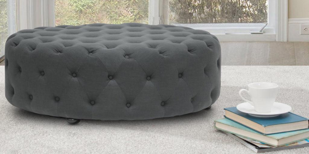 Hustle Free Round Ottoman In Grey Colour