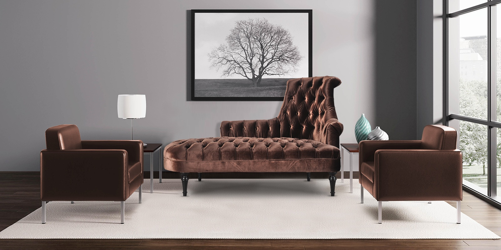 Vintage Style Royal Chaise In Brown Colour