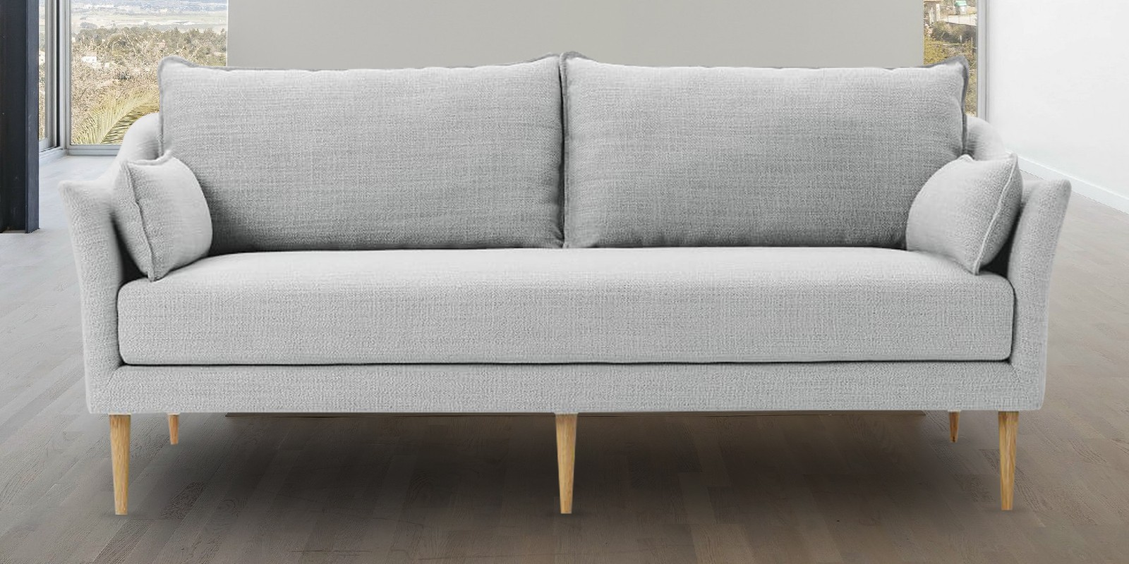 Soothing Three Seater Sofa In Light Grey Colour