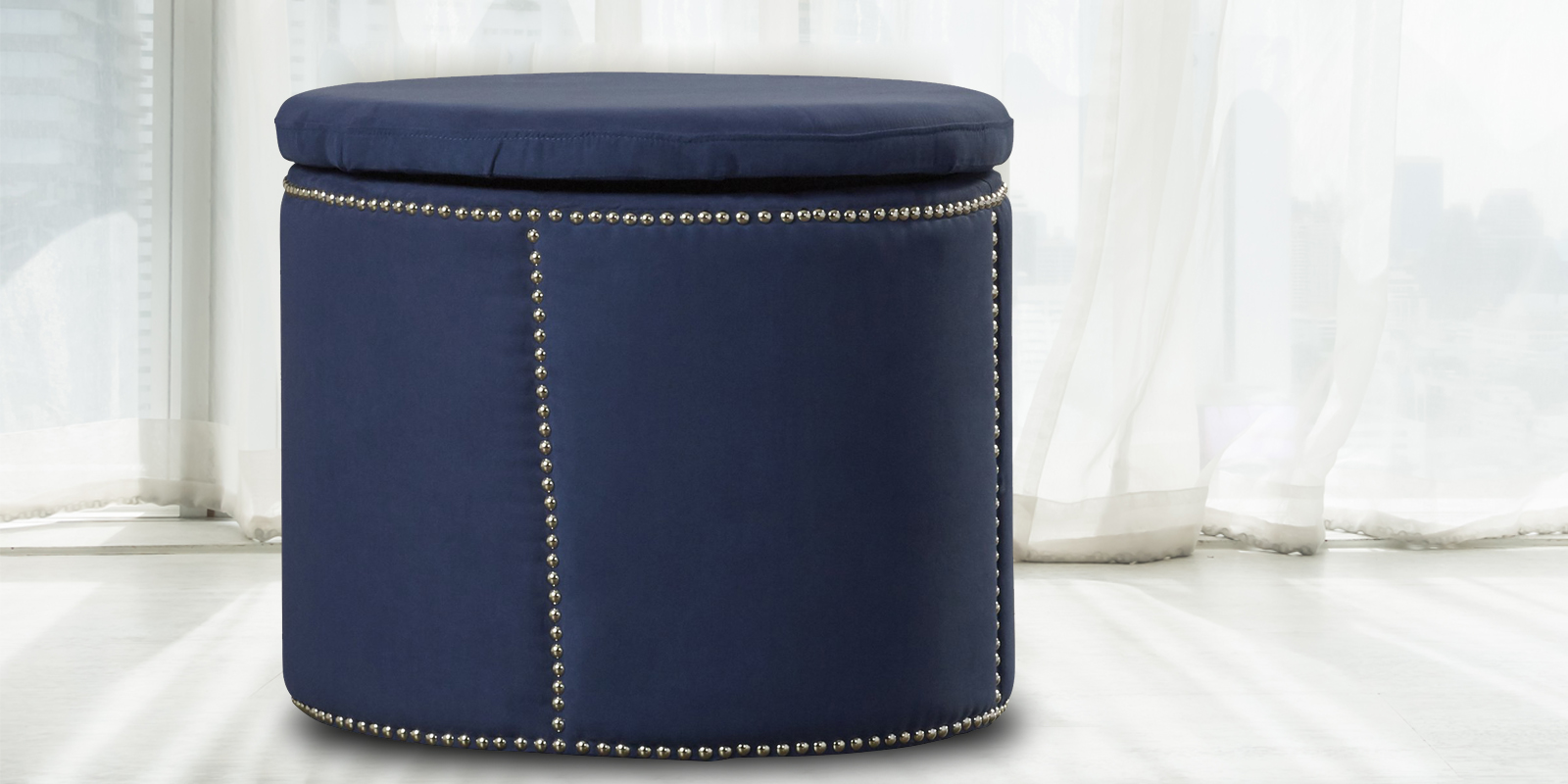 Ravishing Cylindrical Ottoman In Blue Colour