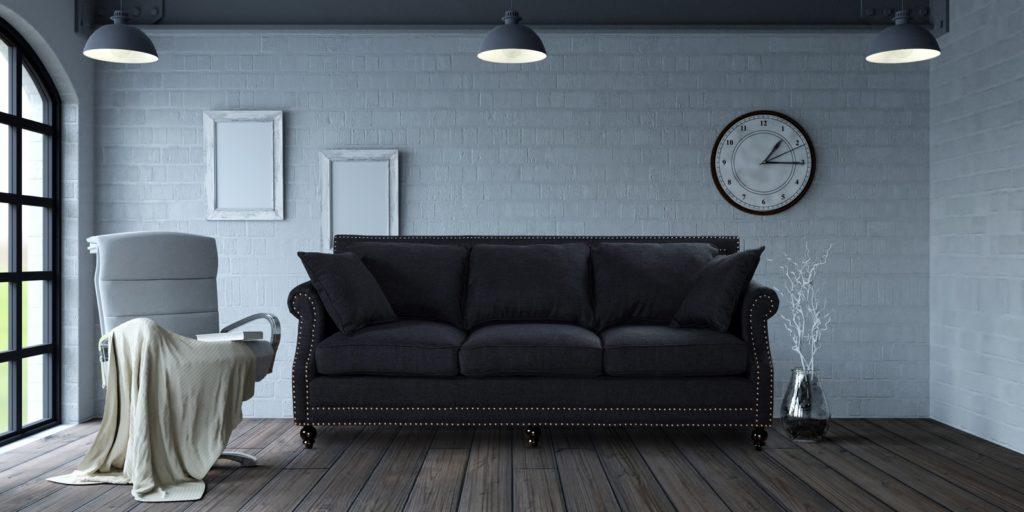 Trendy Nail Head Trim Three Seater Sofa In Black Colour