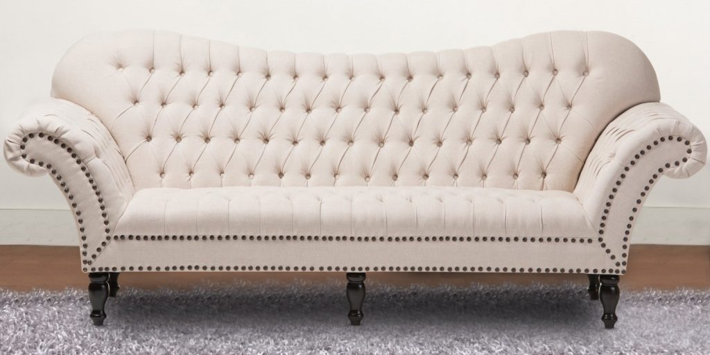 Chic Style Three Seater Chesterfield Sofa In Beige Colour