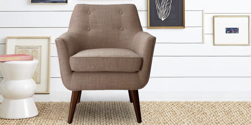 Burnaby Opulent Accent Chair in Light Brown Colour
