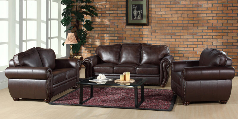 Editha Leatherette Sofa Set in Brown Colour